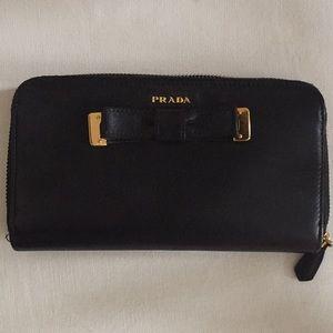 Prada Black Wallet with bow